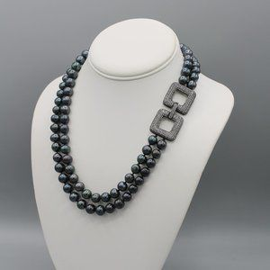 Black freshwater pearl necklace square